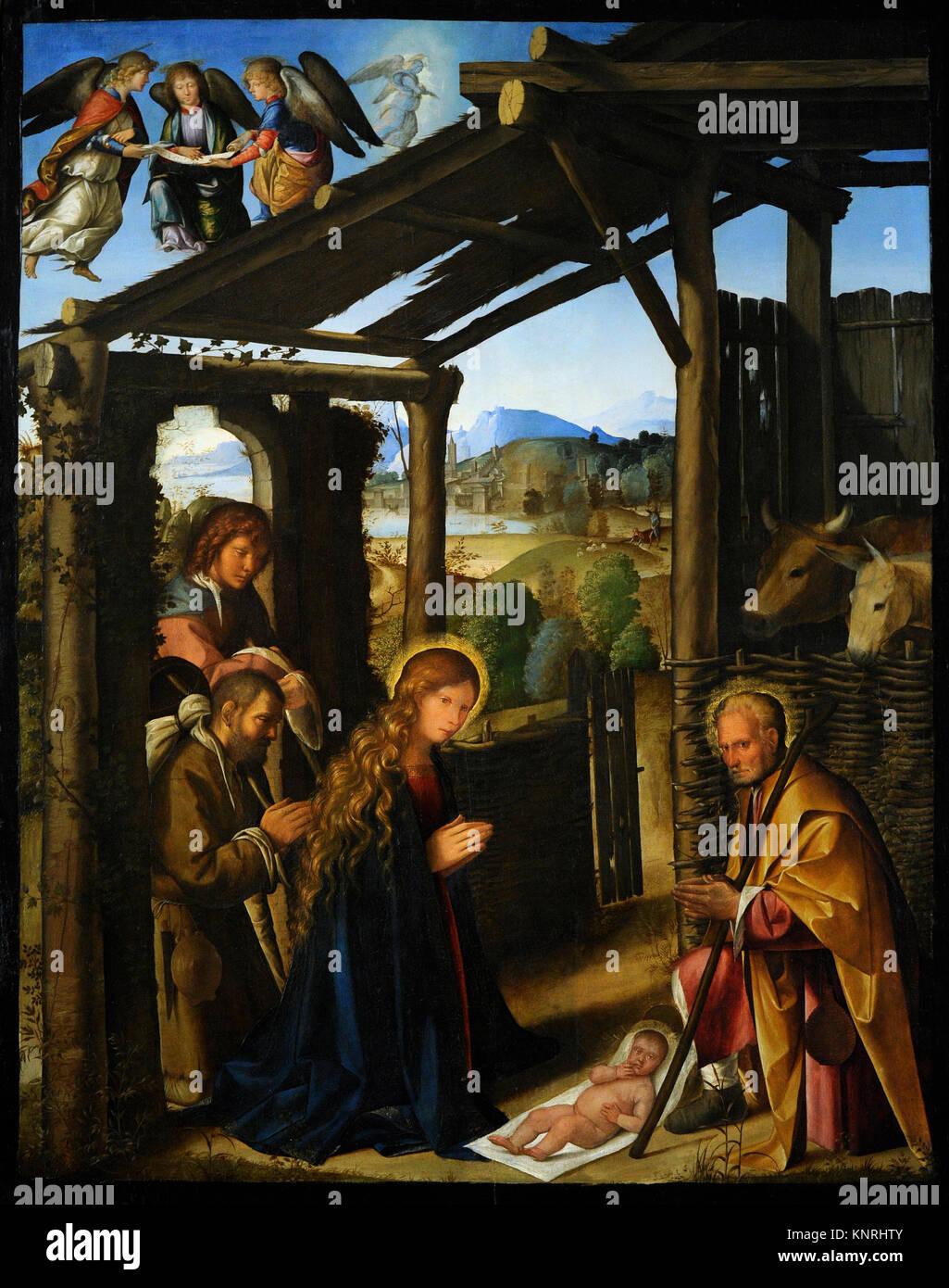 Boccaccio Boccaccino (1466/1467-1524/1525). Italian painter. Adoration of the shepherds, ca.1500-1507. Bourbon Collection. - Stock Image