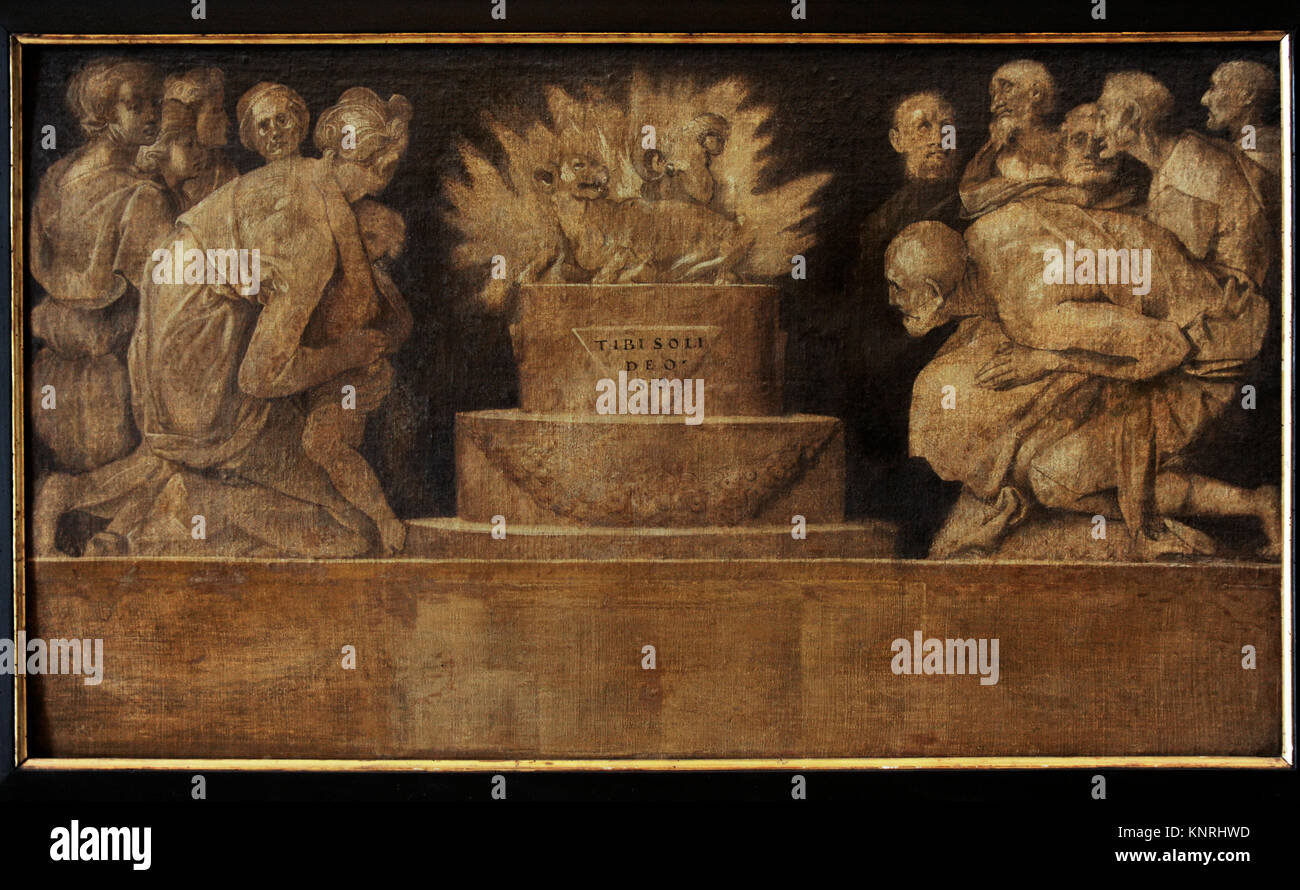 Jacopo Carrucci, called Pontormo (1494-1556). Italian painter. Scene of sacrifice, ca. 1545. Farnese Collection. - Stock Image