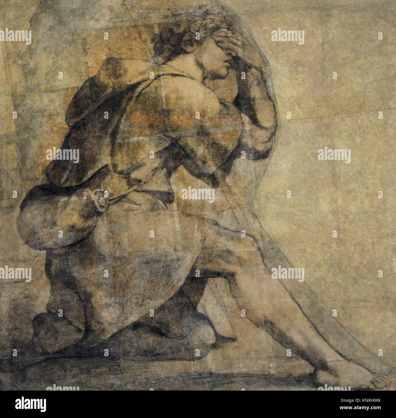 Raphael (1483-1520). Italian painter. Moses before the burning bush, ca.1514. Charcoal drawing. Farnese Collection. - Stock Image