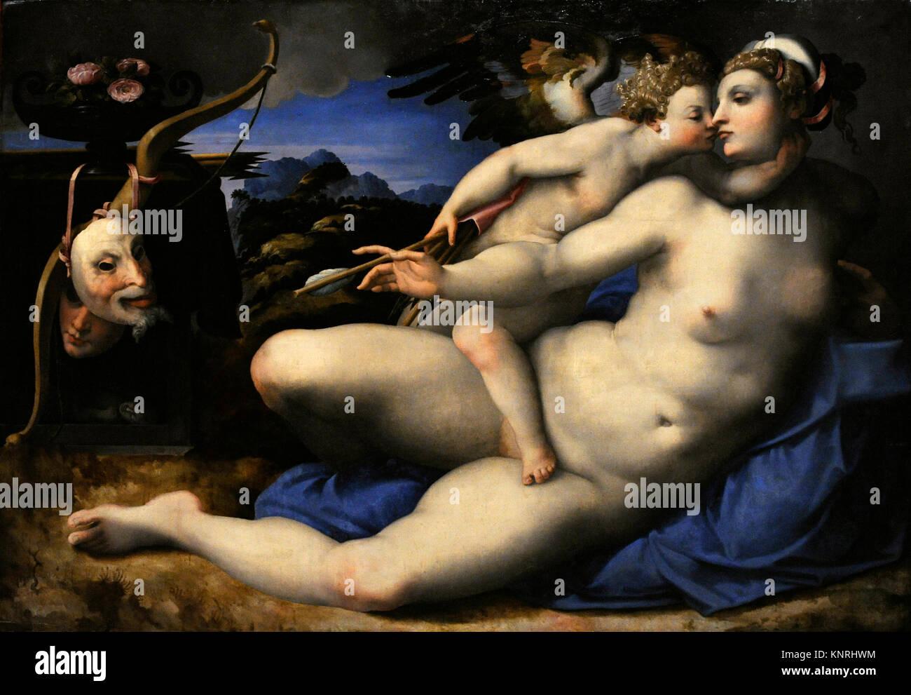 Hendrick van den Broeck (1530-1597). Flemish painter. Venus with Cupid, c.1550-1570. Copy after a Michelangelo (Michelangelo - Stock Image