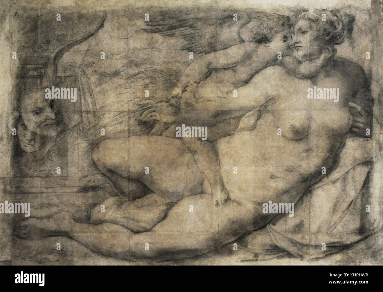 Michelangelo (Michelangelo Buonarroti) (1475-1564). Italian painter. Venus with Love, 1534. Charcoal drawing. Farnese - Stock Image