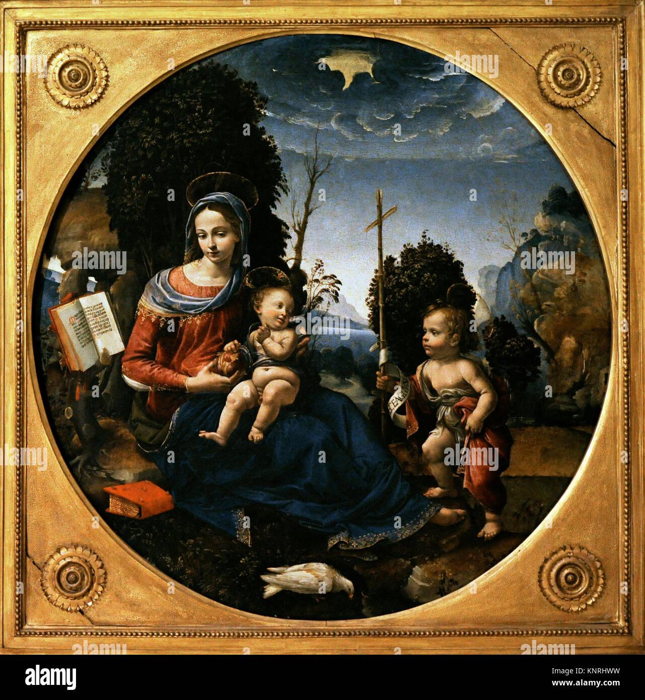 Raffaelino del Garbo (1466-1524). Italian painter. Virgin with Child and Saint John infant. Ca.1500. Bourbon Collection. - Stock Image