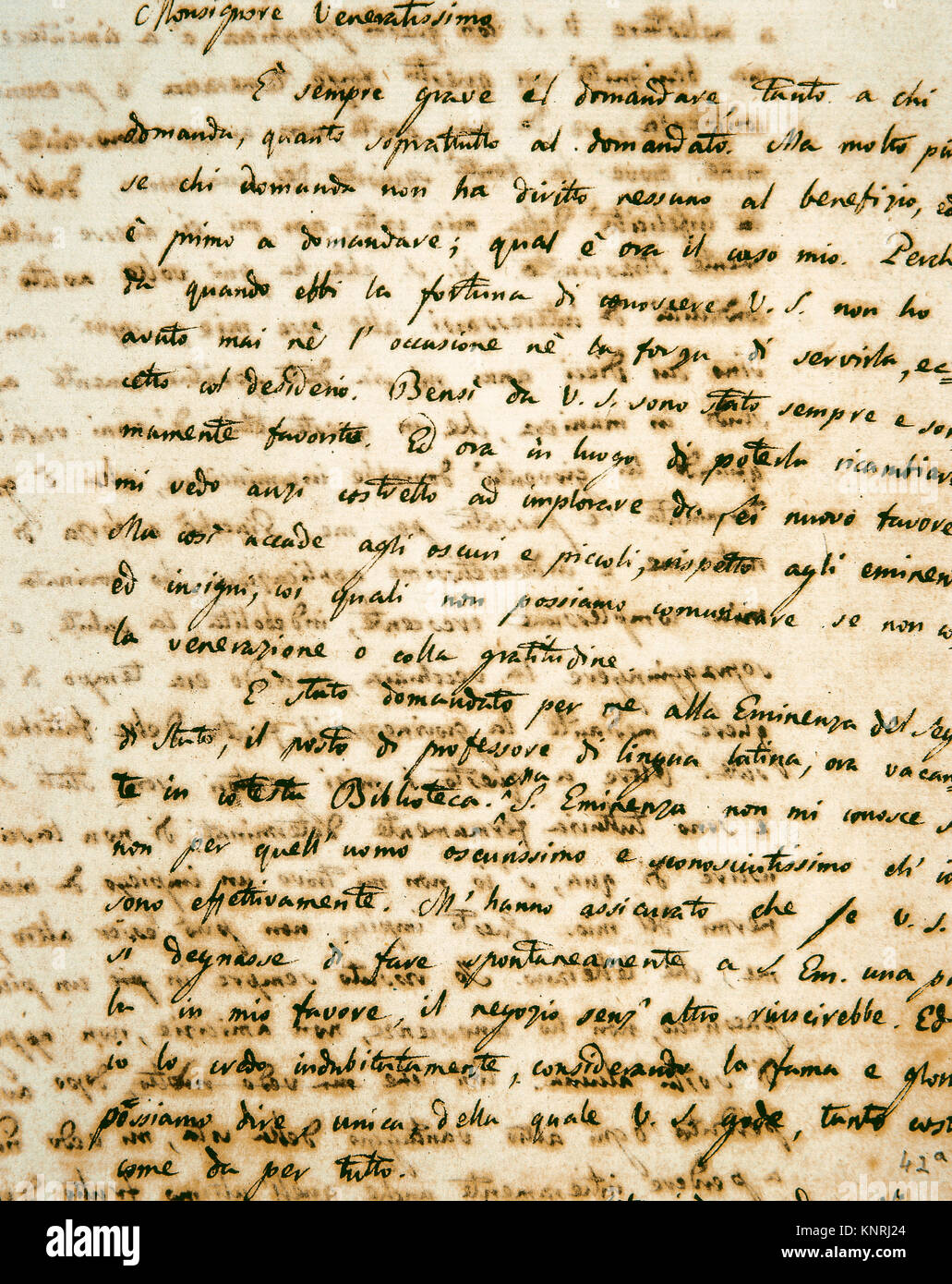 Giacomo Leopardi (1798-1837). Italian philosopher and poet. Handwritten letter to Monsignor Angelo Mai, first Guardian - Stock Image