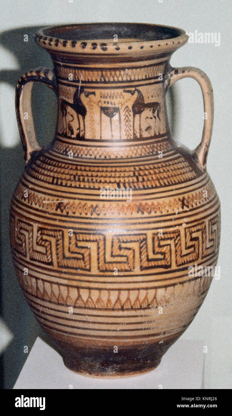 Amphora atica. Geometric period. Upper fringe decorated with horses. C. 8th century BC. National Archaeological - Stock Image
