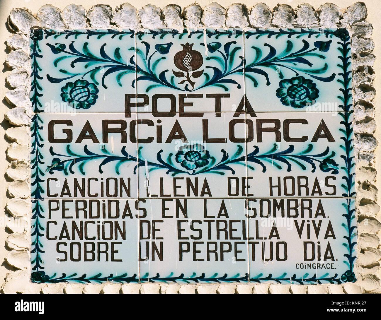 Federico Garcia Lorca (1898-1936). Spanish poet. Plaque next to the writer's house-museum. Fuente Vaqueros. - Stock Image