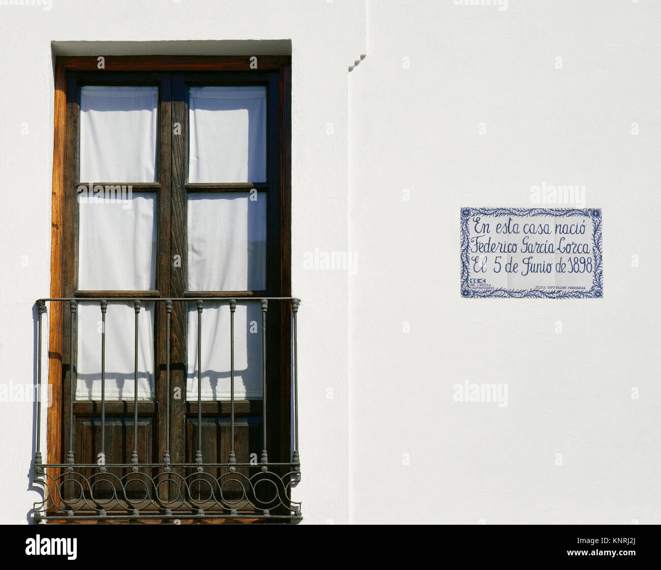 Federico Garcia Lorca (1898-1936). Spanish poet. Generation of '27. Birthplace house. Fuente Vaqueros. Andalusia. - Stock Image