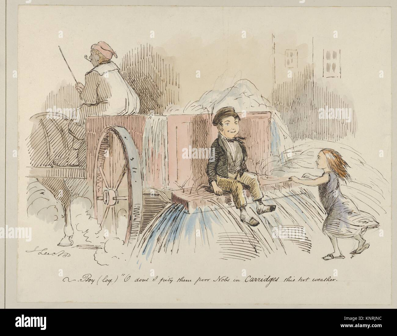 Boy (loq.) O don't I pity them poor Nobs in Carriages this hot weather. Artist: John Leech (British, London - Stock Image