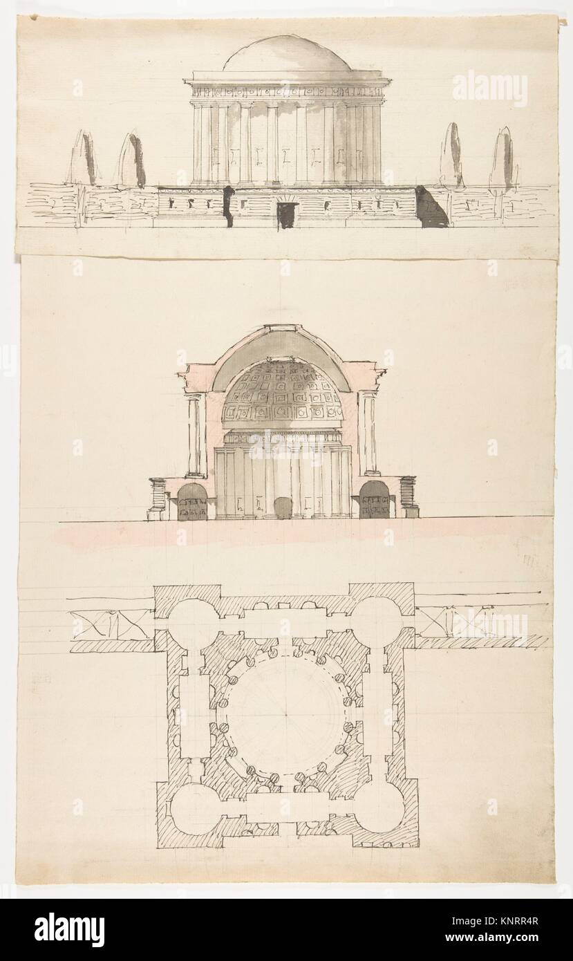 Architectural Drawing. Artist: Attributed to Nicolas François Barbier (French, 1768-1826); Date: n.d; Medium: - Stock Image