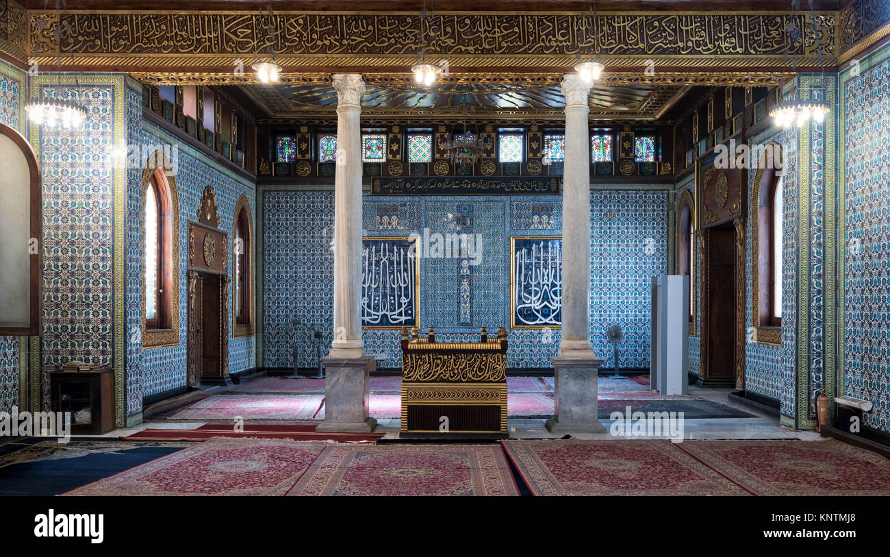 Interior of public mosque of Manial Palace of Prince Mohammed Ali Tewfik with wooden golden ornate ceilings, Cairo, - Stock Image