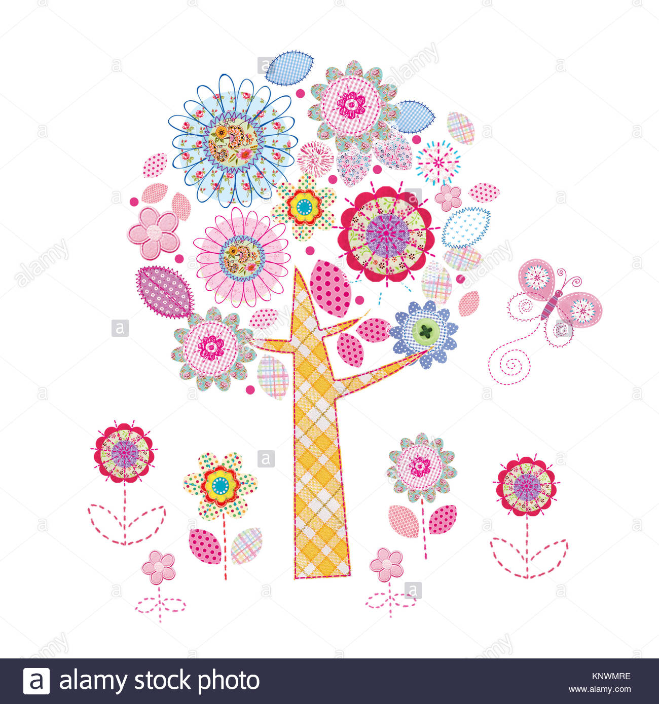 Collage style flowers and trees - Stock Image