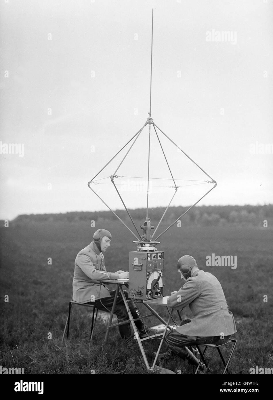 Early aviation history circa 1915 Netherlands two radio operators - Stock Image