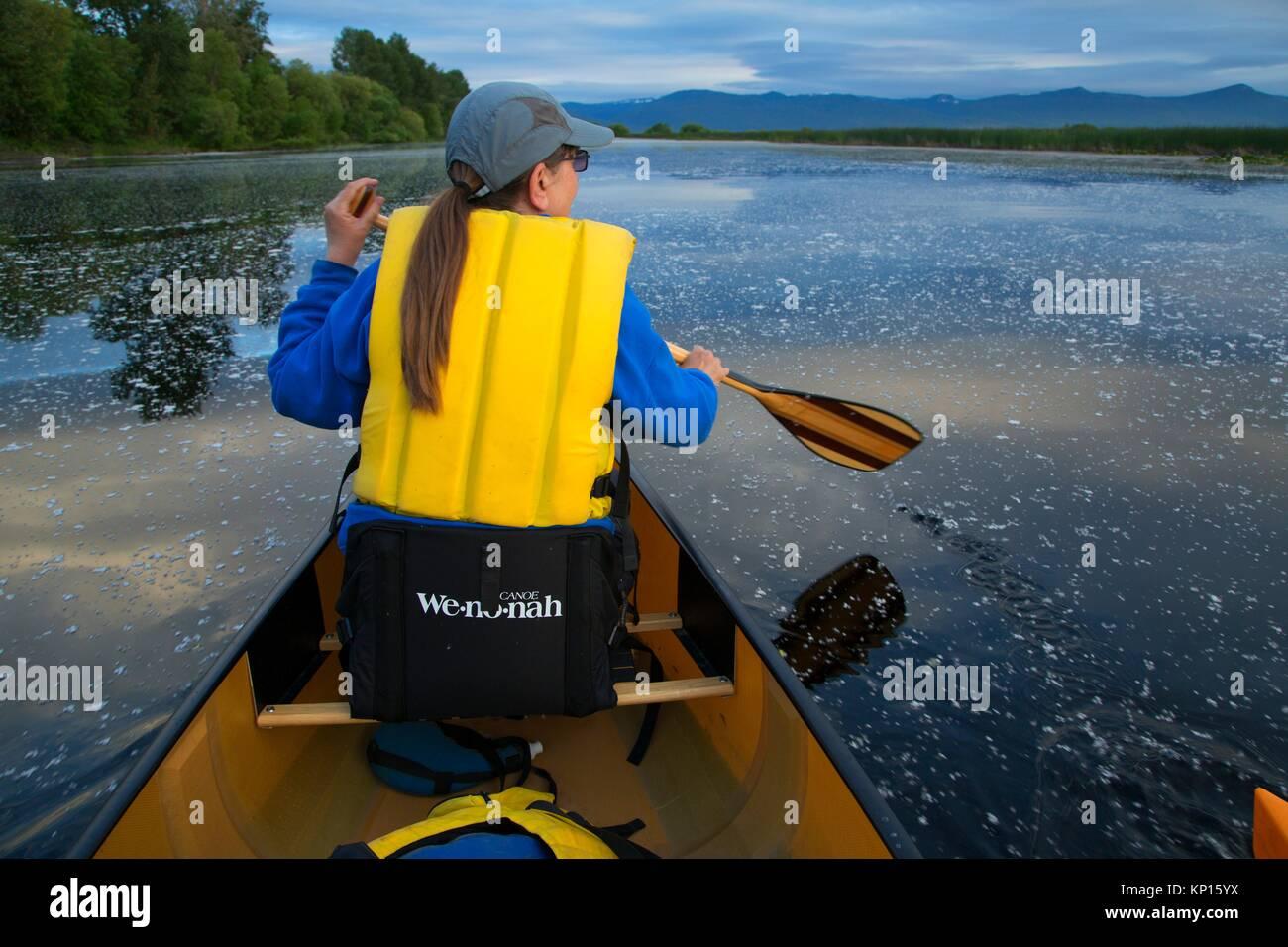 Canoeing, Wood River Wetland, Klamath Falls District Bureau of Land Management, Oregon. - Stock Image