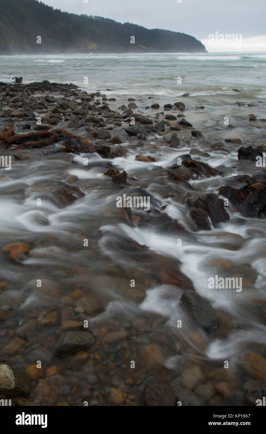 Cape Creek on beach, Cape Lookout State Park, Oregon . - Stock Image