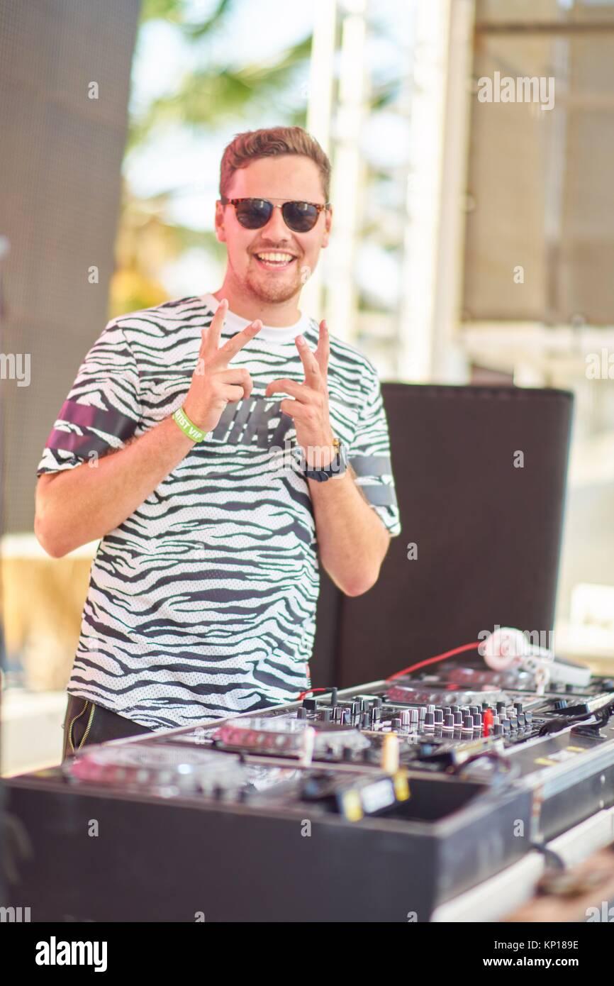 DJ Alpharock at music festival Starbeach in Hersonissos, Crete, Greece, on 24. July 2017 - Stock Image
