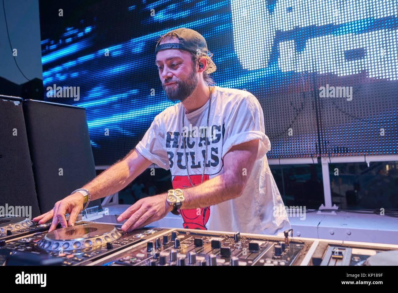 DJ Vato Gonzalez at music festival Starbeach in Hersonissos, Crete, Greece, on 24. July 2017 - Stock Image
