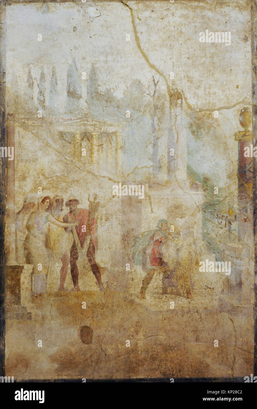 Roman fresco depicting Ulysses carrying the Palladium (statue of Athena) that he has stolen from the temple. 1st - Stock Image