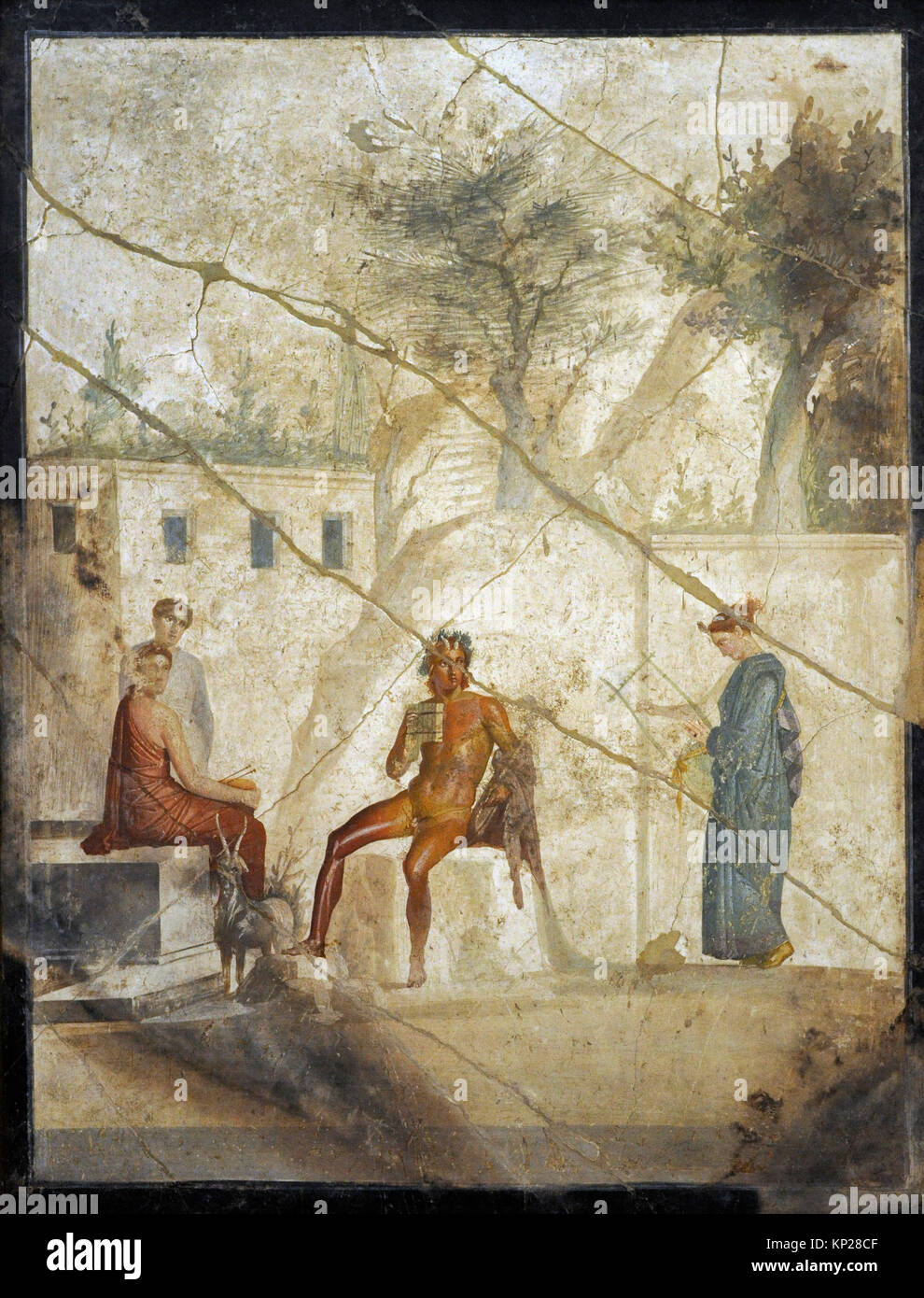 Roman fresco depicting Pan playing the double flute with a nymph playing the lyre and two other nymphs accompanying - Stock Image