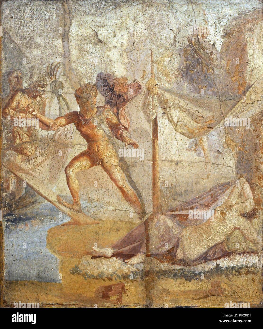 Roman fresco depicting Theseus abandoning Ariadne. 35-45 AD. Triclinum. House of Lucius Caecilius Lucundus. Pompeii. - Stock Image