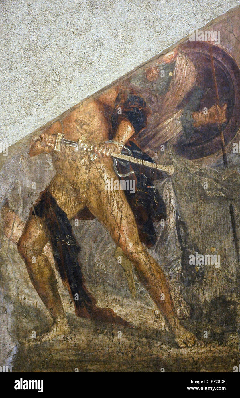 Roman fresco depicting Achilles attacking Agamemnon. Only part of the body of the hero is preserved with his sword, - Stock Image
