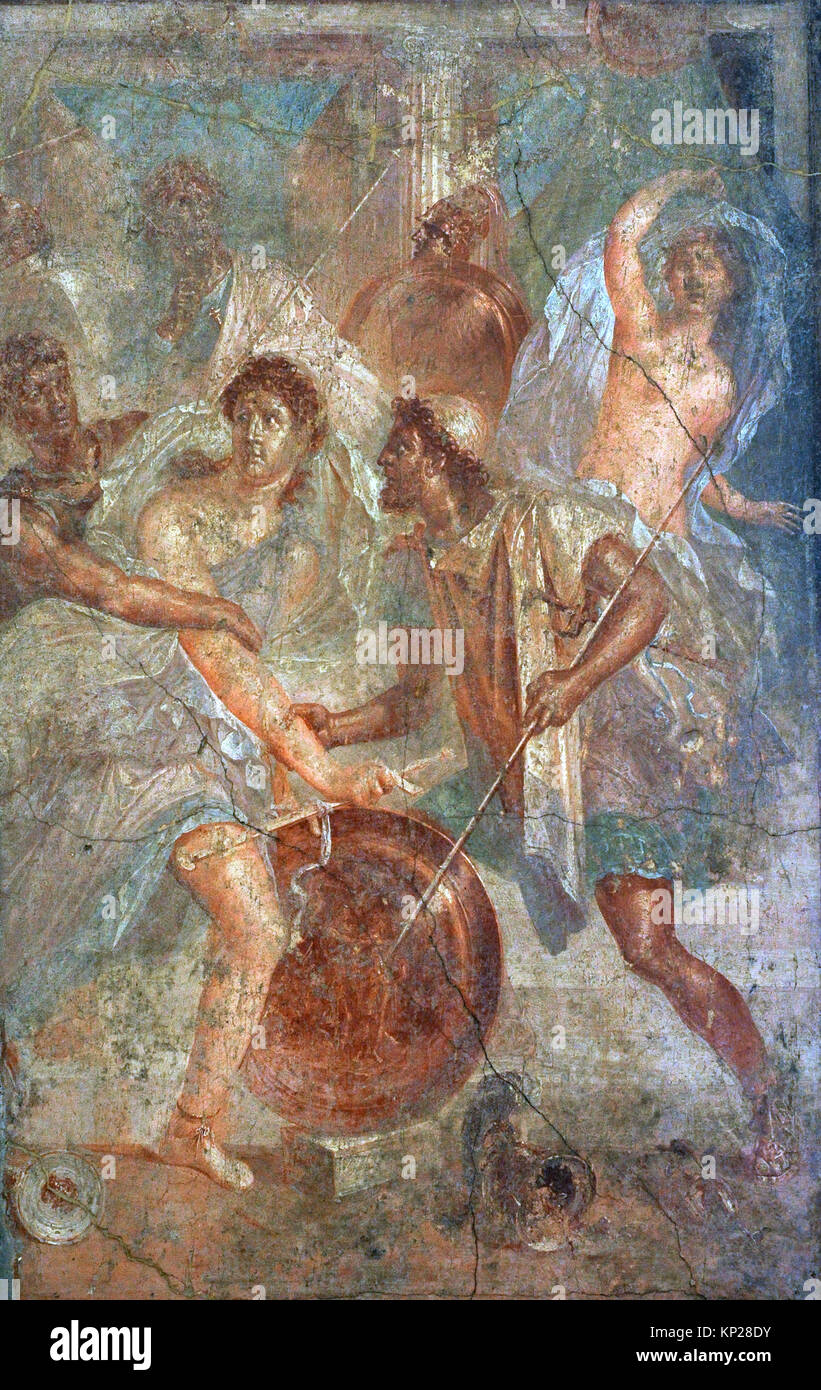 Roman fresco depicting Ulysses unmasks Achilles, dressed as a woman, in Sciro. Tablinium. House of the Dioscuri, - Stock Image
