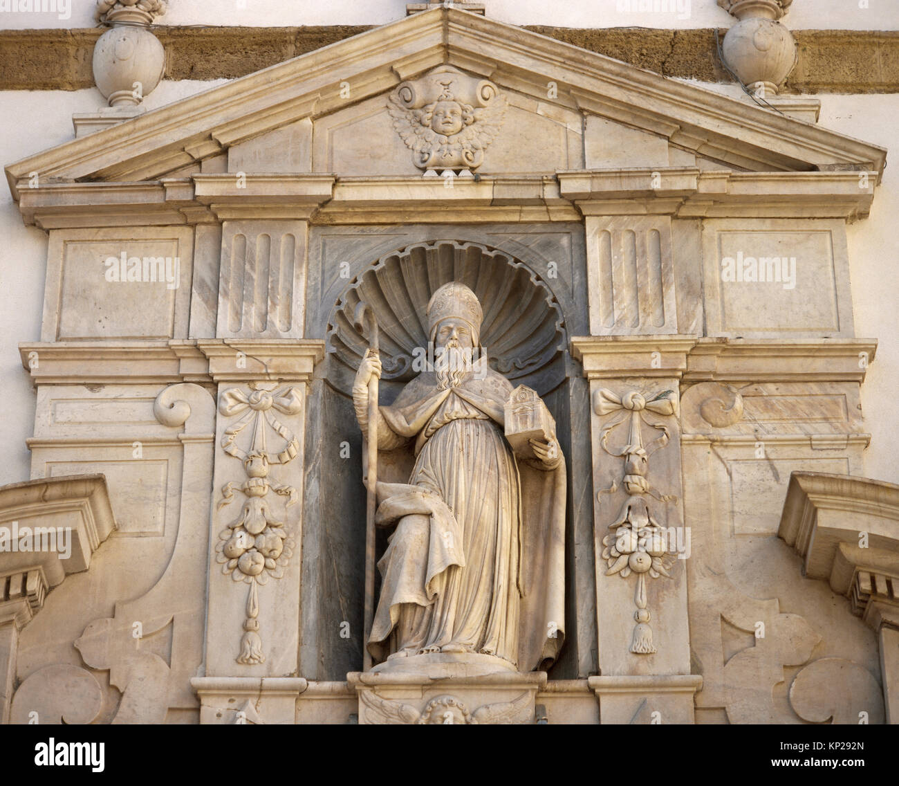 Sculpture of st. Augustine (354-430). Doctor of the Church. Facade of Church of Saint Agustine. Cadiz, Andalusia. - Stock Image