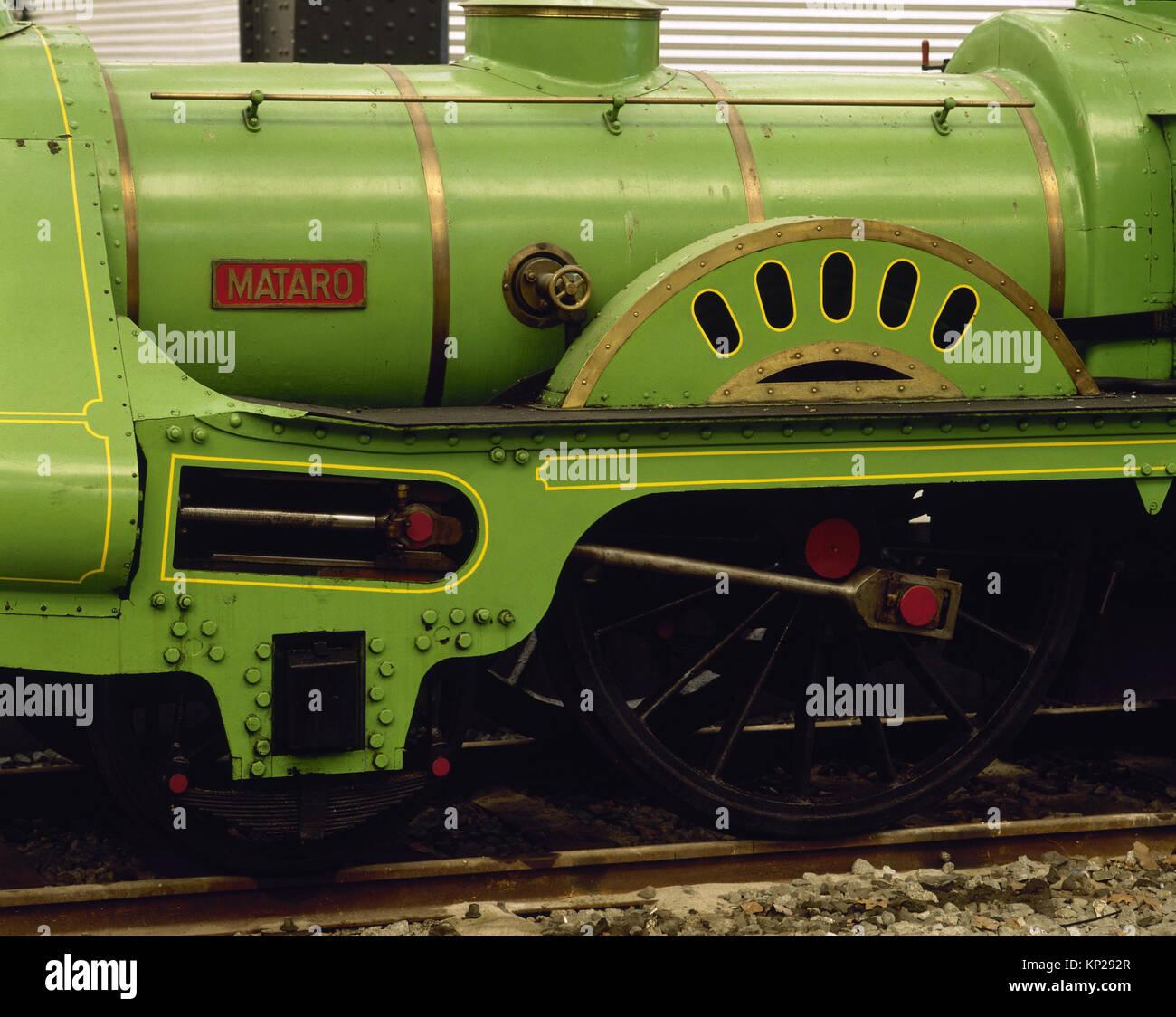 Locomotive Barcelona-Mataro, 1848. Replica. Exposition:150 Years fo railroad history. France Station. Barcelona. - Stock Image