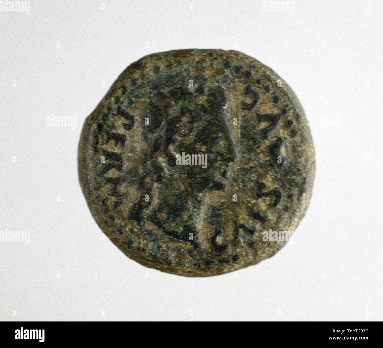 Semis. Bronze. Roman coin. Adverse. 'Pervissv caearis avgvsti'. 1st century. Mint of the colony Augusta - Stock Image