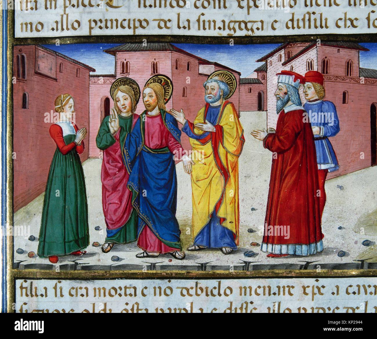 Cristofor de Premis (1440-1486). Italian miniaturist. Jesus raises the Daughter of Jairus. Codex De Predis. (1476). - Stock Image
