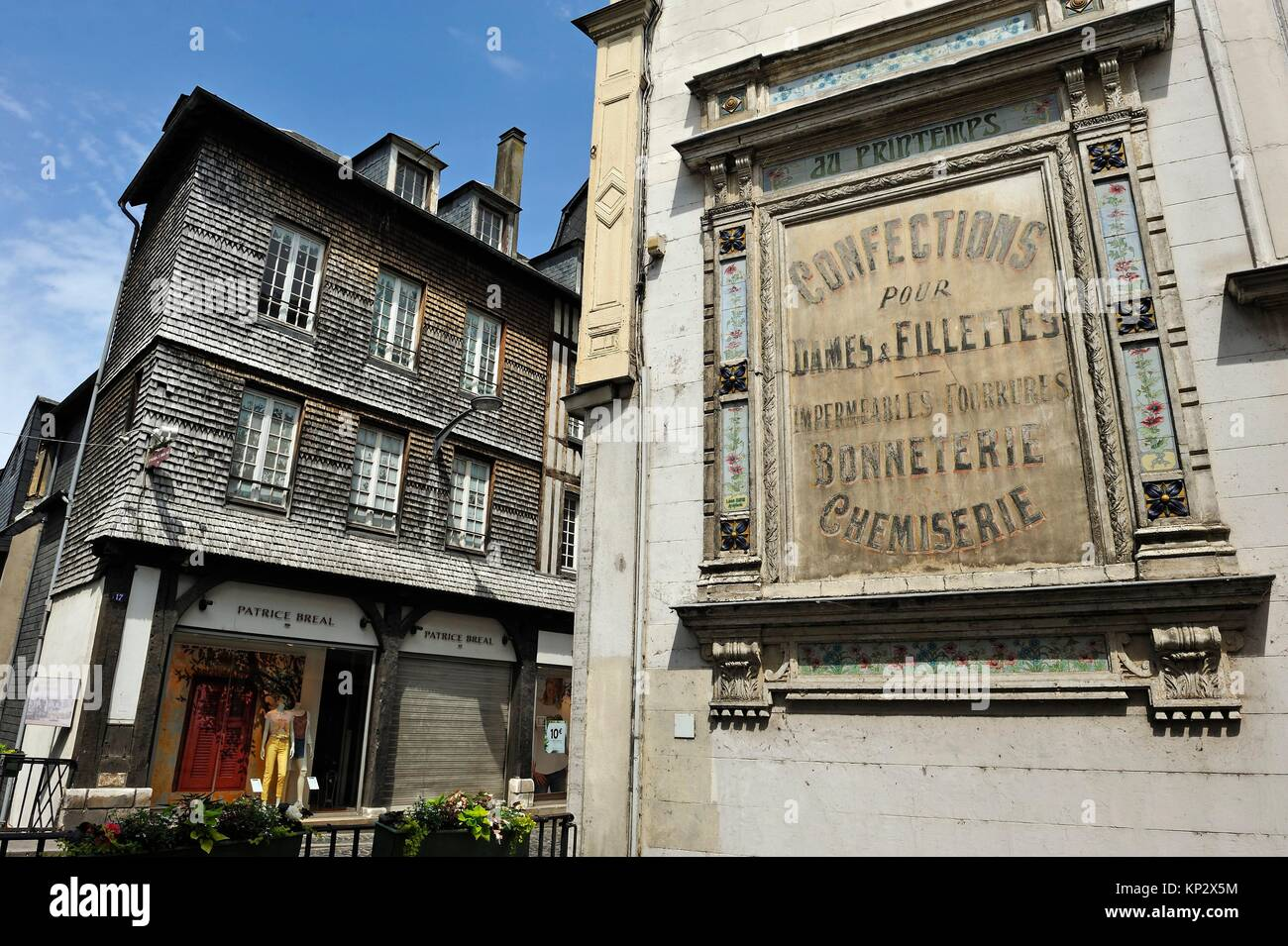 ancient advertising sign at Pont-Audemer, Eure department, Normandy region, France, Europe. - Stock Image