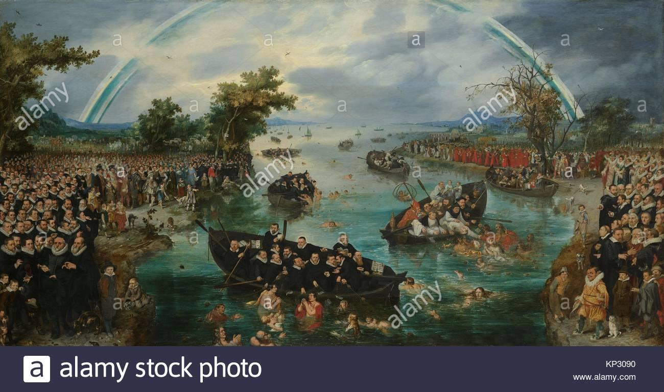Fishing for Souls, Adriaen Pietersz. van de Venne, 1614, Rijksmuseum, Netherlands - Stock Image