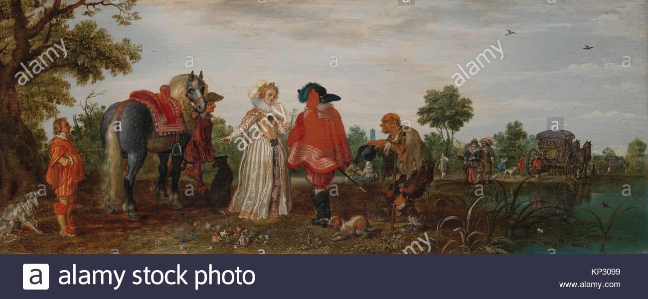 Spring (The Meeting) Adriaen Pietersz. van de Venne, 1625, Rijksmuseum, Netherlands - Stock Image