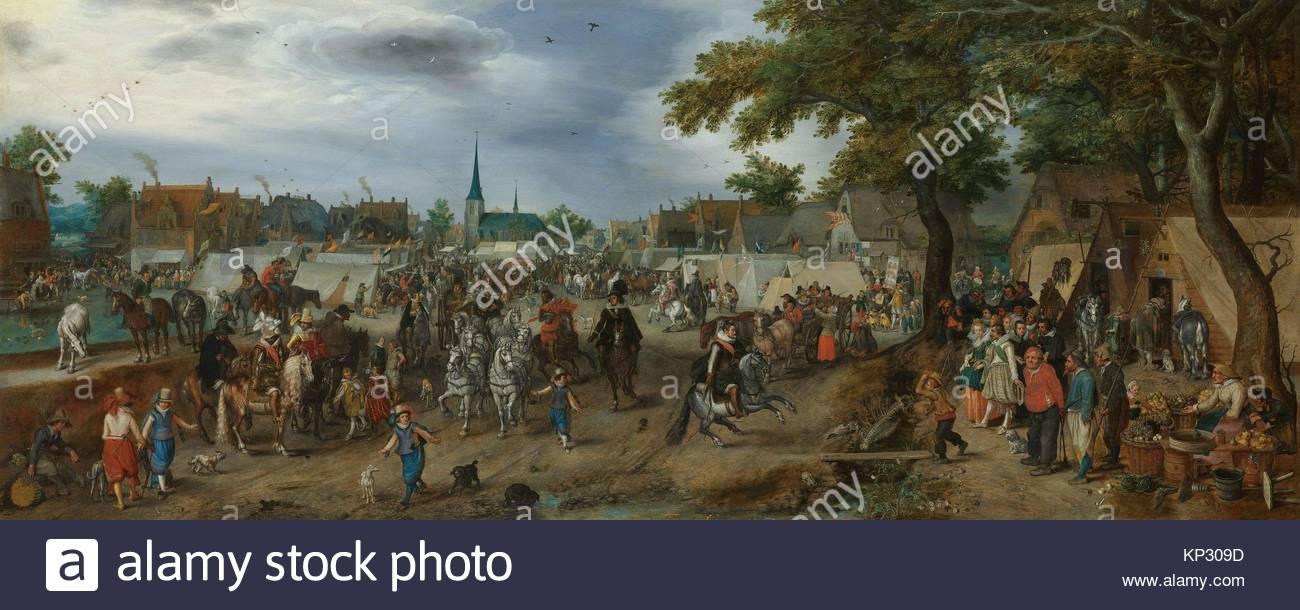 Prince Maurice and Frederick Henry at the Valkenburg Horse Fair, Adriaen Pietersz. van de Venne, 1618, Rijksmuseum, - Stock Image