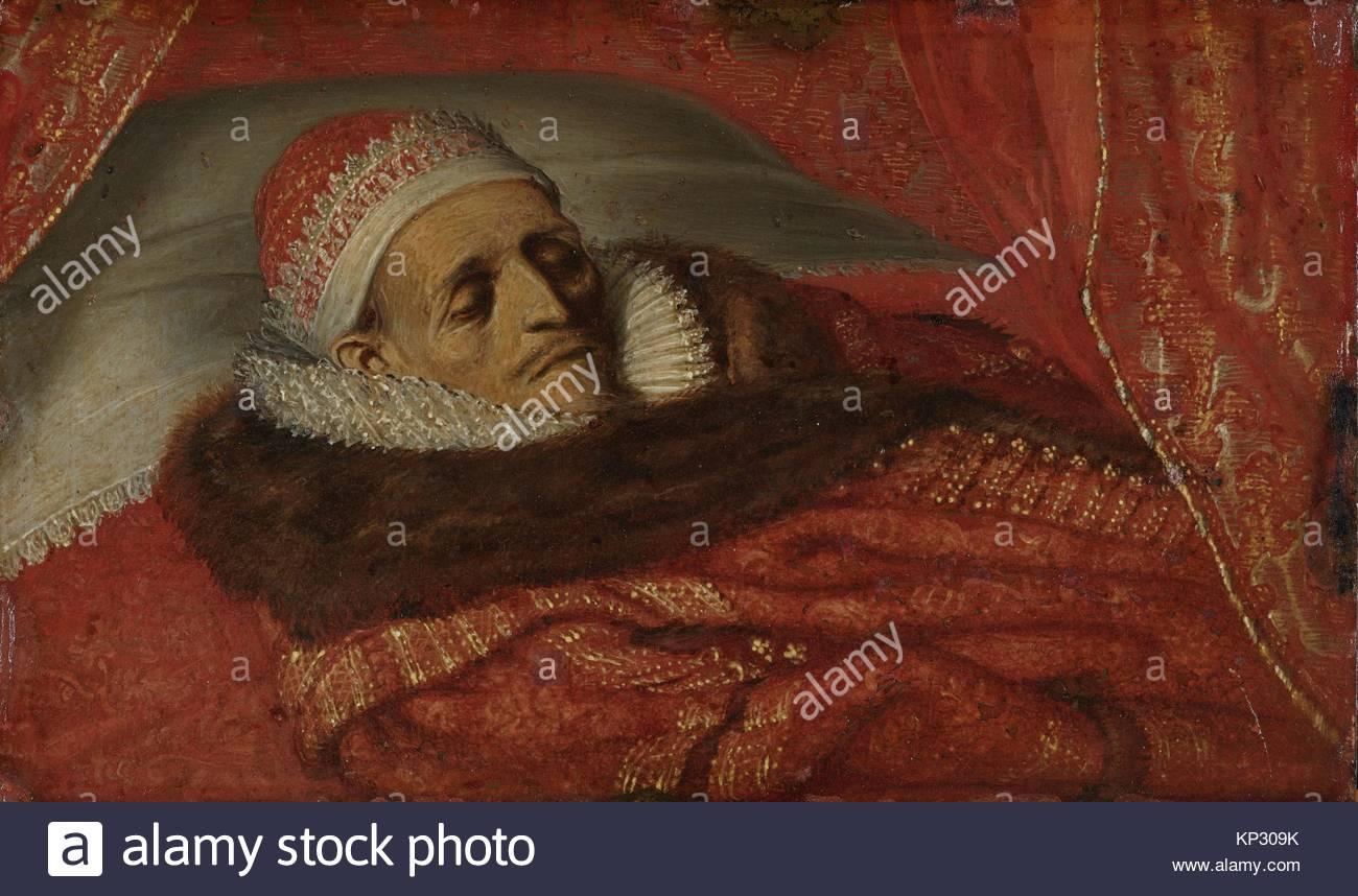 Stadtholder Prince Maurice Lying in State, Adriaen Pietersz. van de Venne, c. 1625, Rijksmuseum, Netherlands - Stock Image
