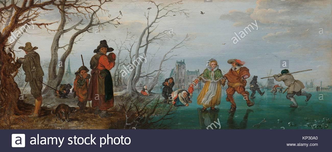 Winter (Amusement on the Ice), Adriaen Pietersz. van de Venne, 1625, Rijksmuseum, Netherlands - Stock Image