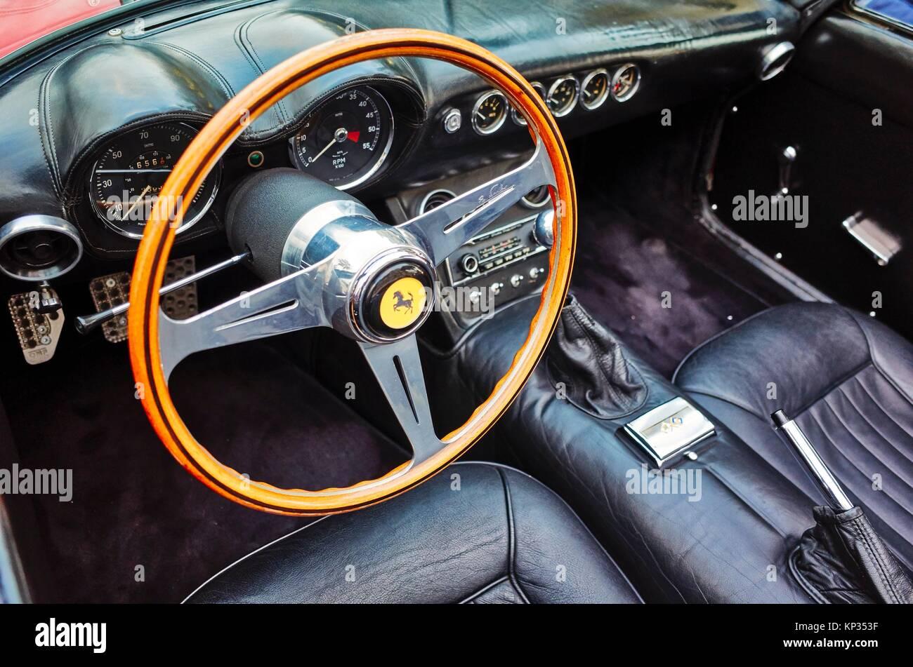 The dashboard of an historical Ferrari in Montecarlo, Monaco Principality. - Stock Image