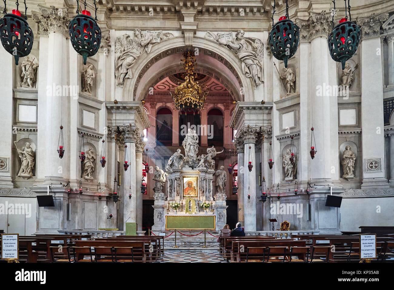 The interior of Santa Maria della Salute Church in Venice, Italy - Stock Image