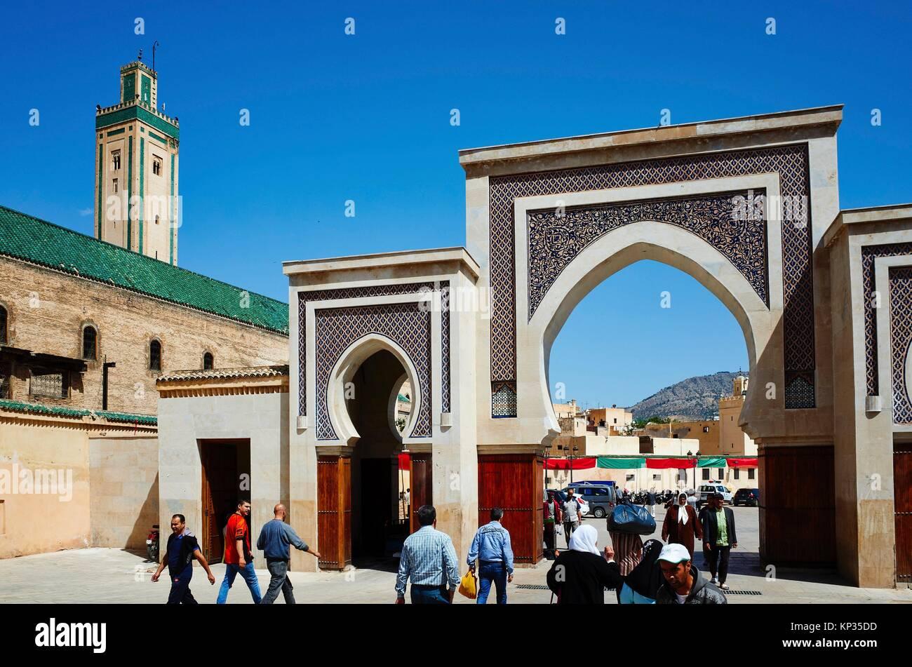 Bab Rcif gate to the medina of Fez, Morocco - Stock Image