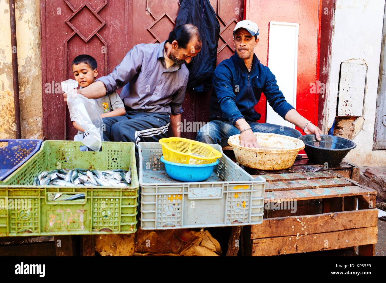 Selling fishes in the medina of Meknes, Morocco - Stock Image