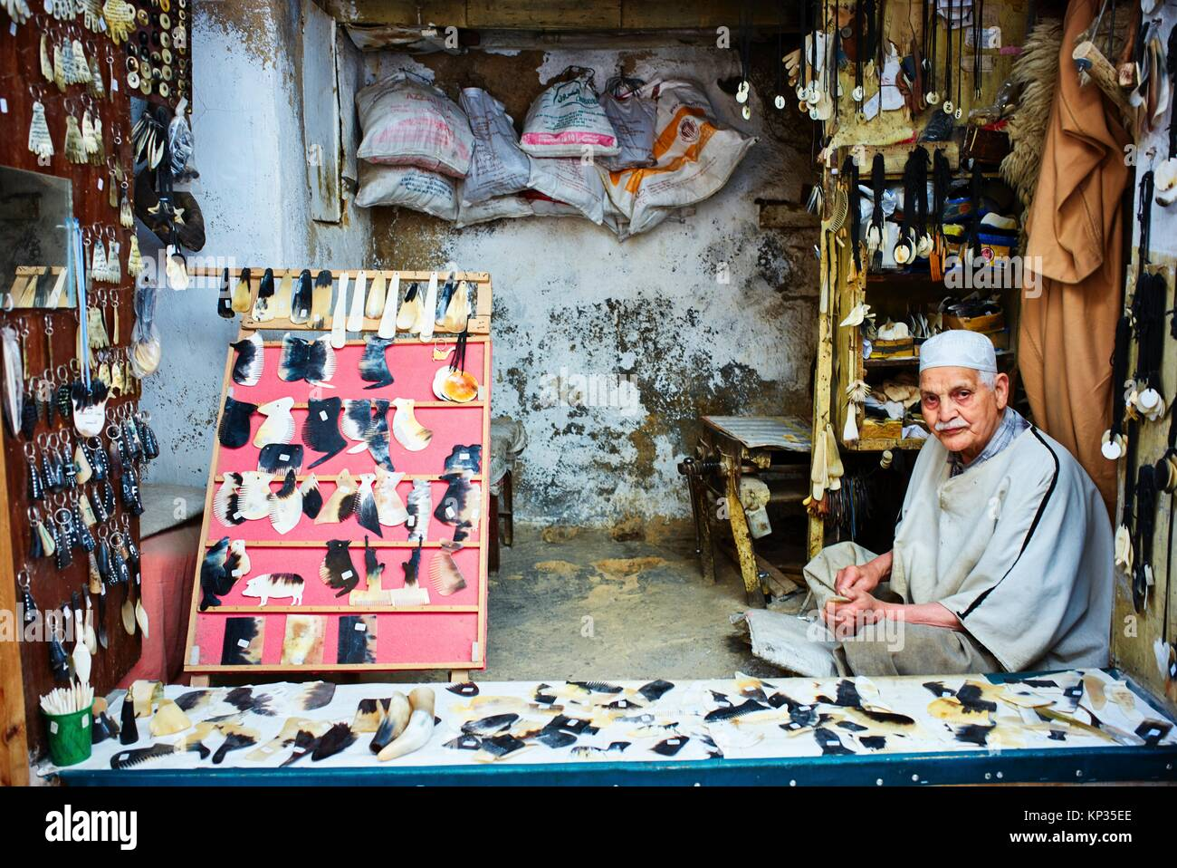 A shop in the medina of Fez, Morocco - Stock Image