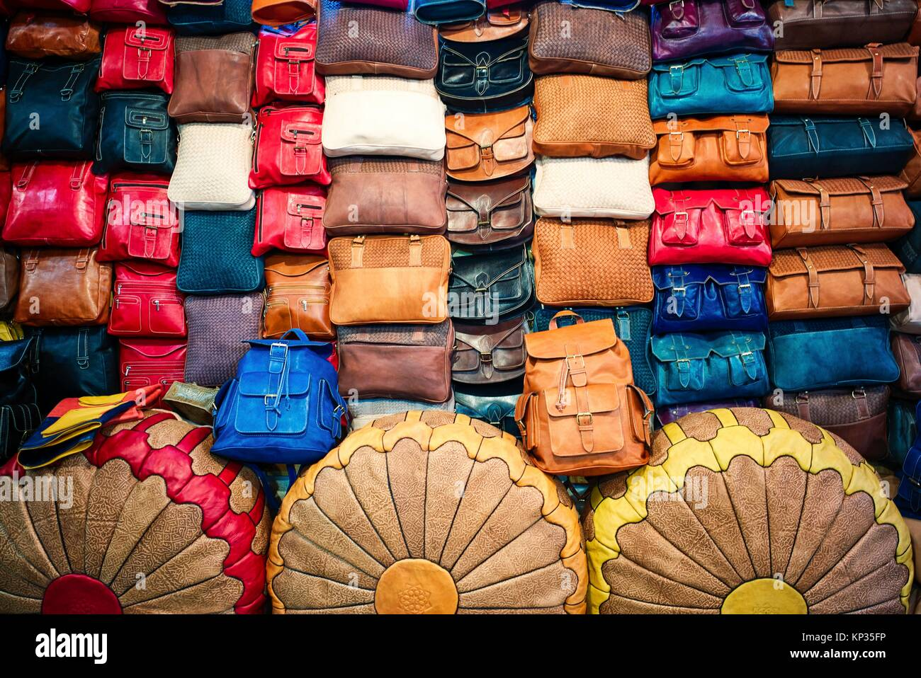 Leather articles shop in the medina of Fez, Morocco - Stock Image