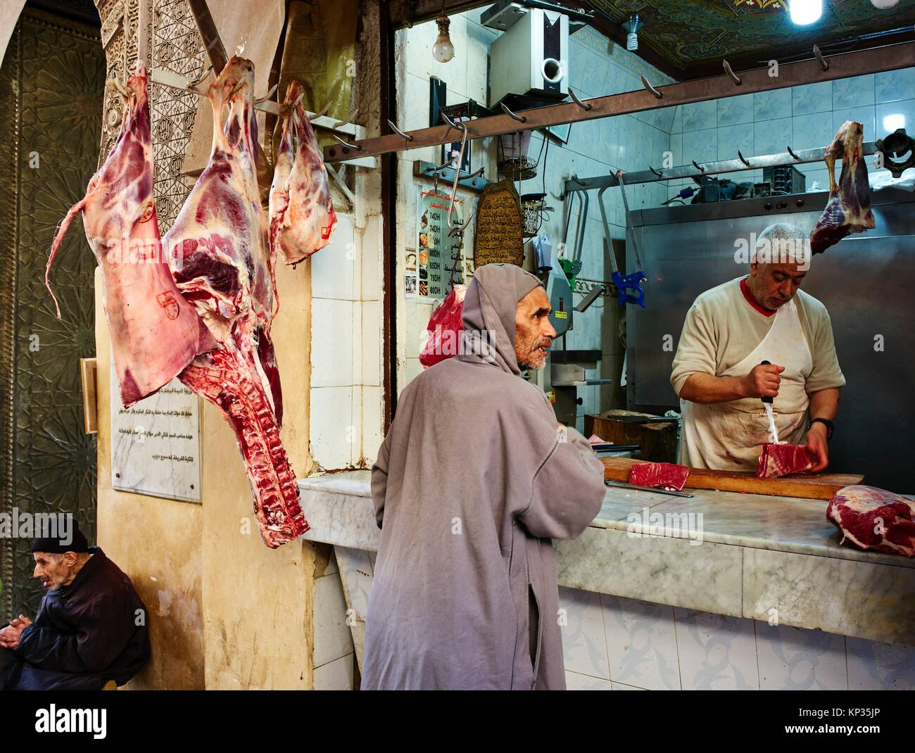 Butcher´s shop in the medina of Fez, Morocco - Stock Image