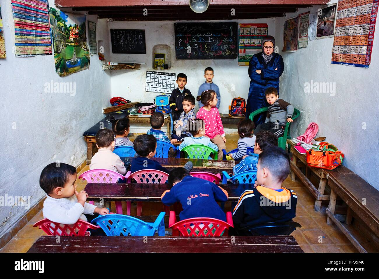 A kindergarten in the medina of Fez, Morocco - Stock Image