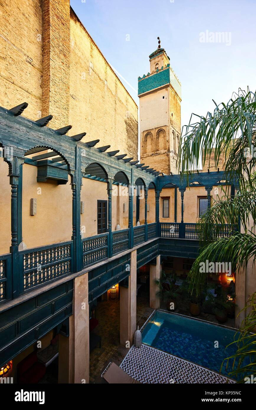 A 15th century Riad in the medina of Fez, Morocco - Stock Image