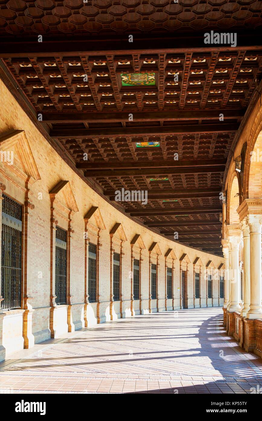 Plaza de España, Seville, Spain built for the Ibero-American Exposition of 1929, Seville, Andalusia, Spain, - Stock Image