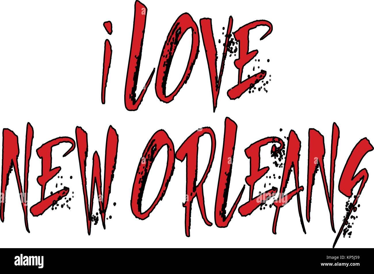 I Love New Orleans text illustration on white background - Stock Image