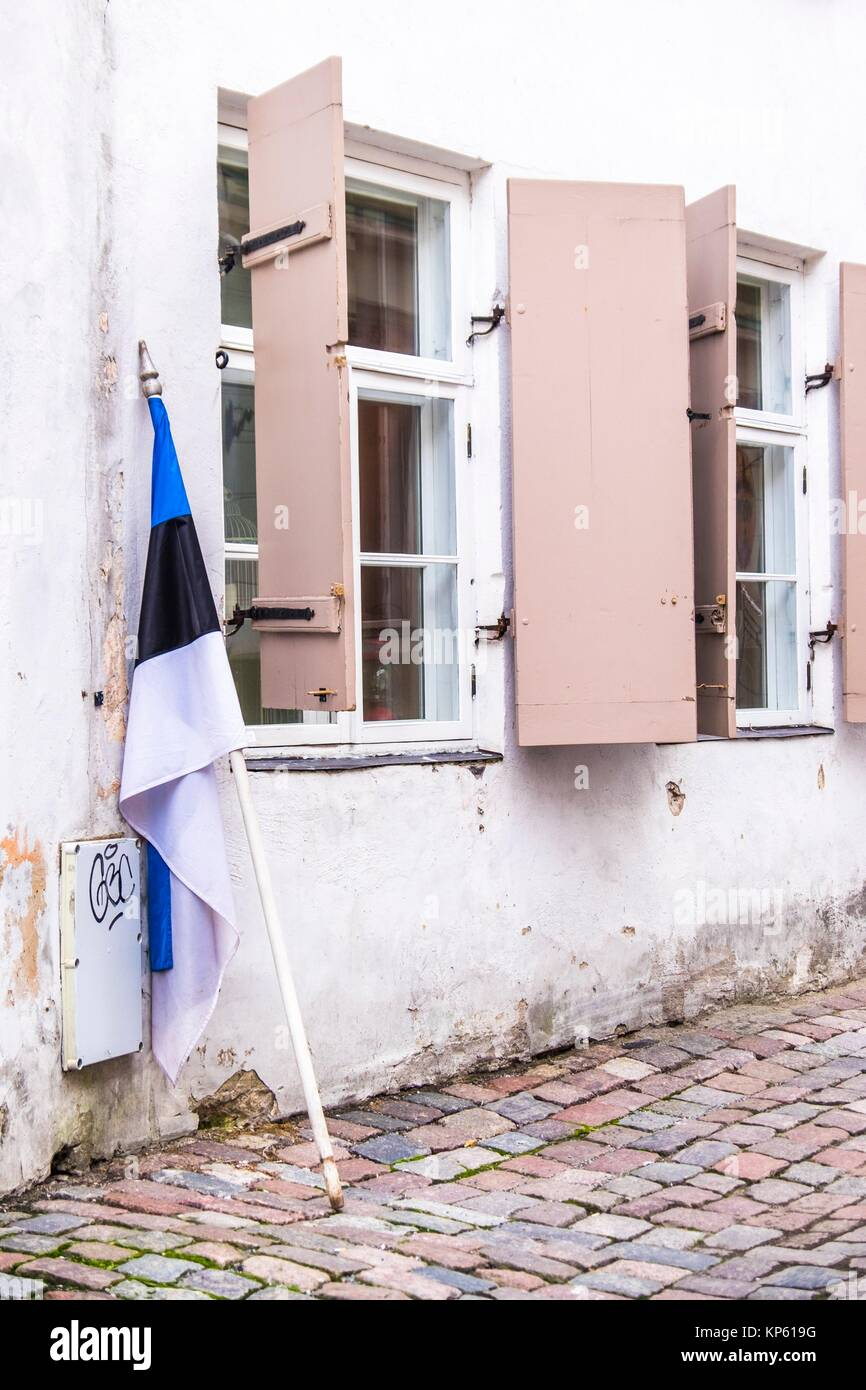 Estonian flag taken down after Re-independance Day. - Stock Image