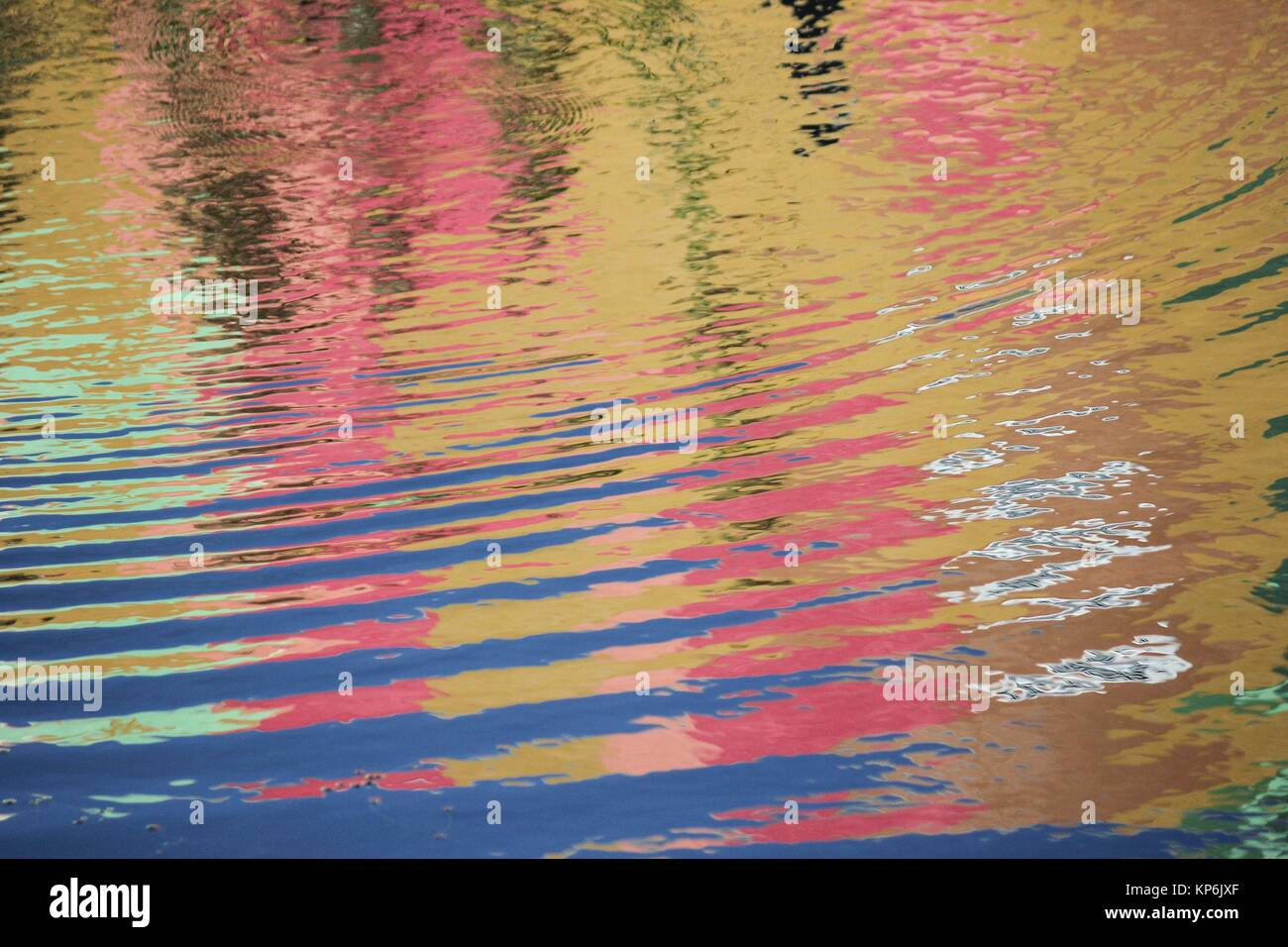 Water canvas for the impressionist painter. Reflected pastels. - Stock Image