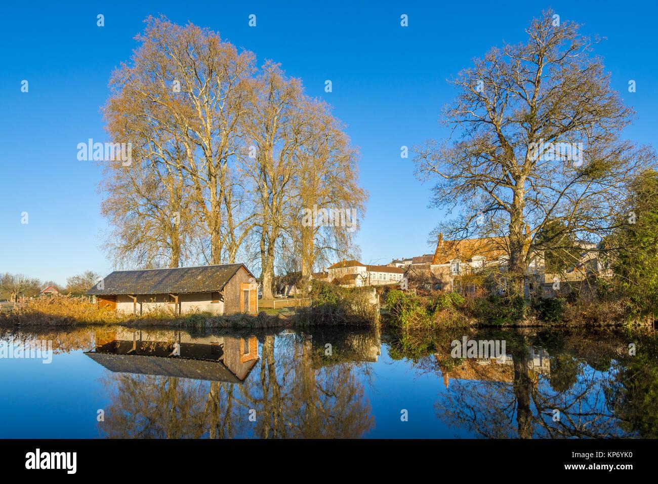 Old public wash-house 'lavoir' on river Claise, Preuilly-sur-Claise, France. - Stock Image