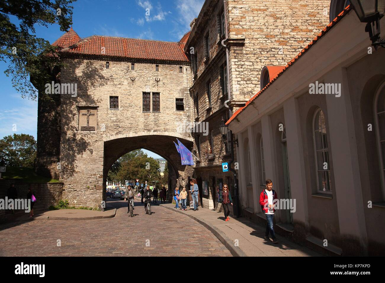 View to the Great Coastal Gate and The Estonian Maritime Museum in the old town of Tallinn, Estonia, Baltic State, - Stock Image