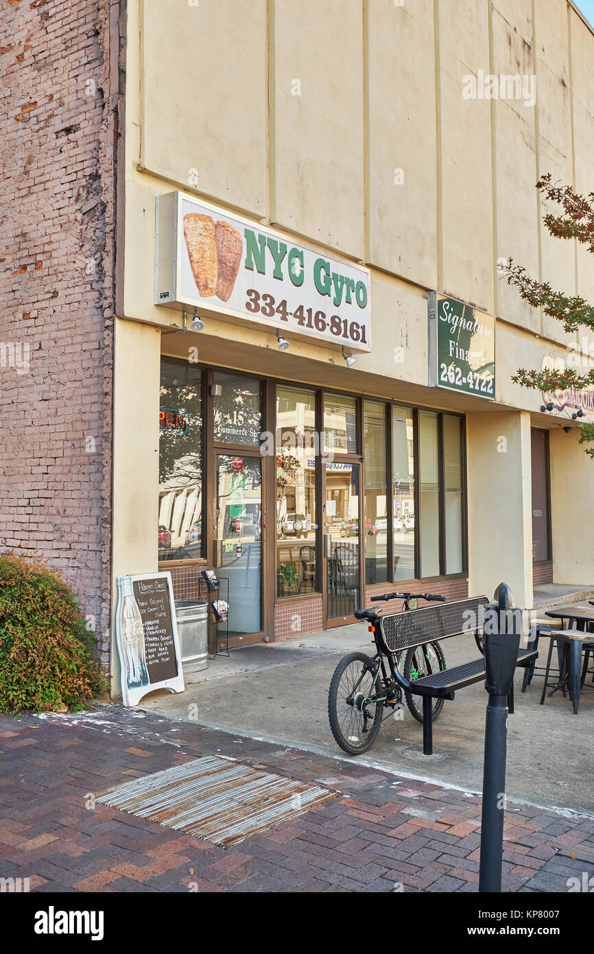 Exterior entrance for NYC Gyro greek or Mediterranean pita style food also known a gyros, in downtown Montgomery - Stock Image